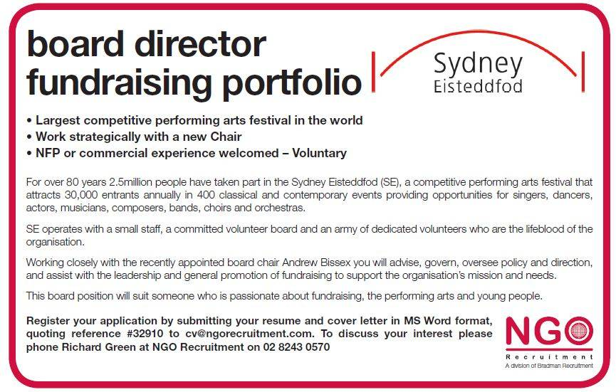board director fundraising portfolio sydney eisteddfod - Board Of Director Resume