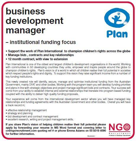 Ngo Recruitment Business Development Manager Plan International