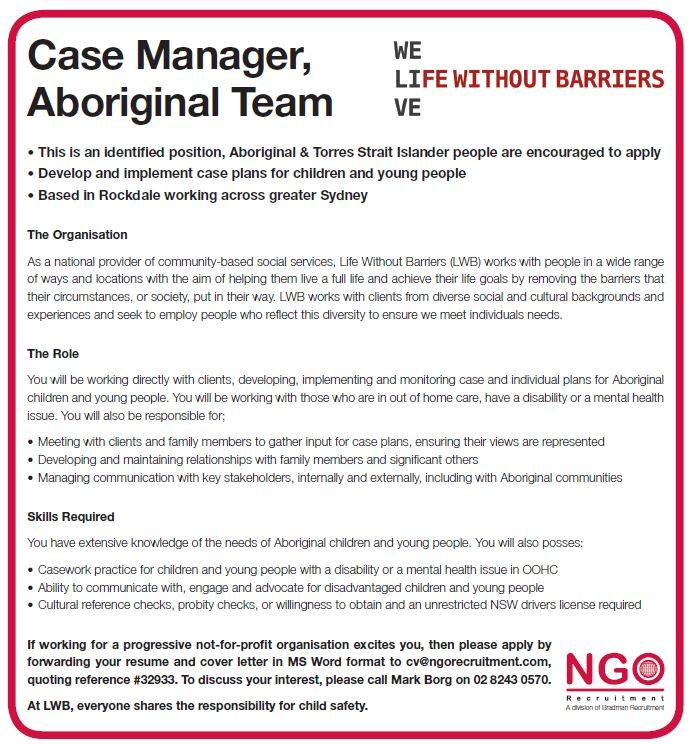 NGO Recruitment | Case Manager, Aboriginal Team – Life Without Barriers