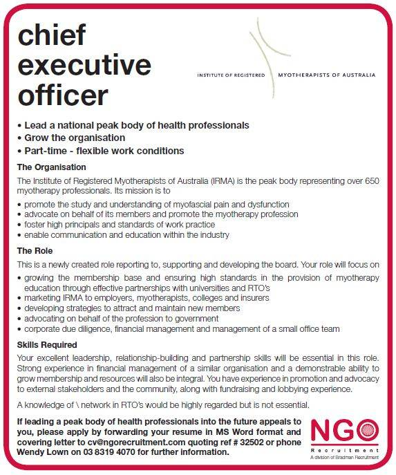 Chief Executive Officer   Institute Of Registered Myotherapists Of Australia  Chief Executive Officer Job Description