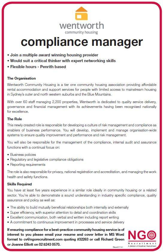 Ngo recruitment operations and human resources - Associate compliance officer ...