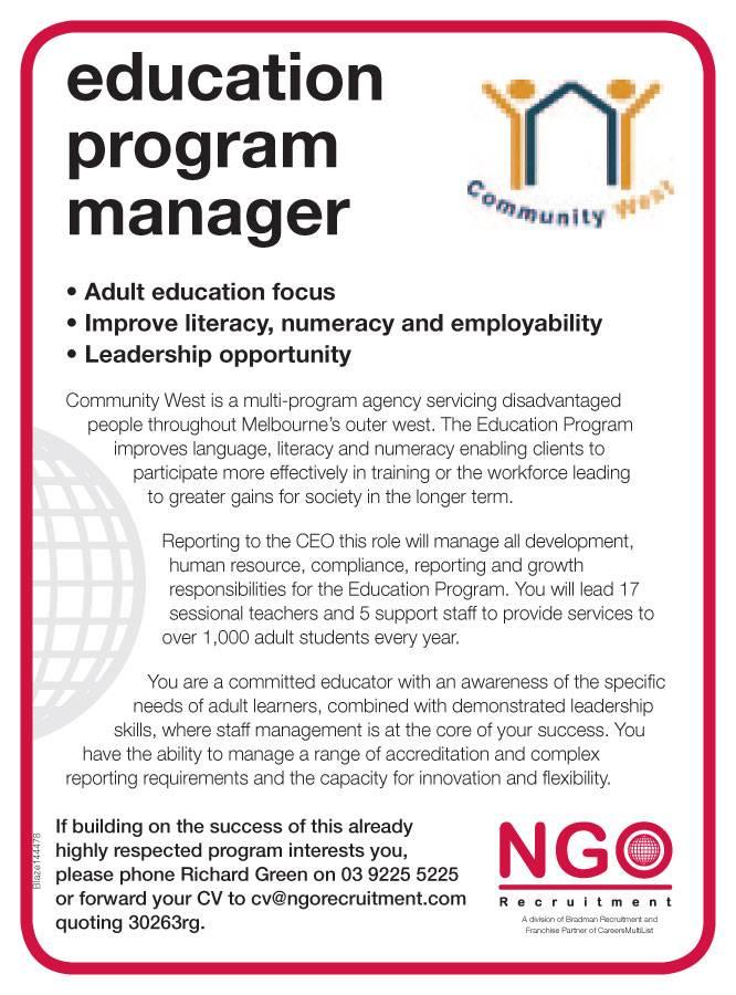 NGO Recruitment Education Program Manager - NGO Recruitment