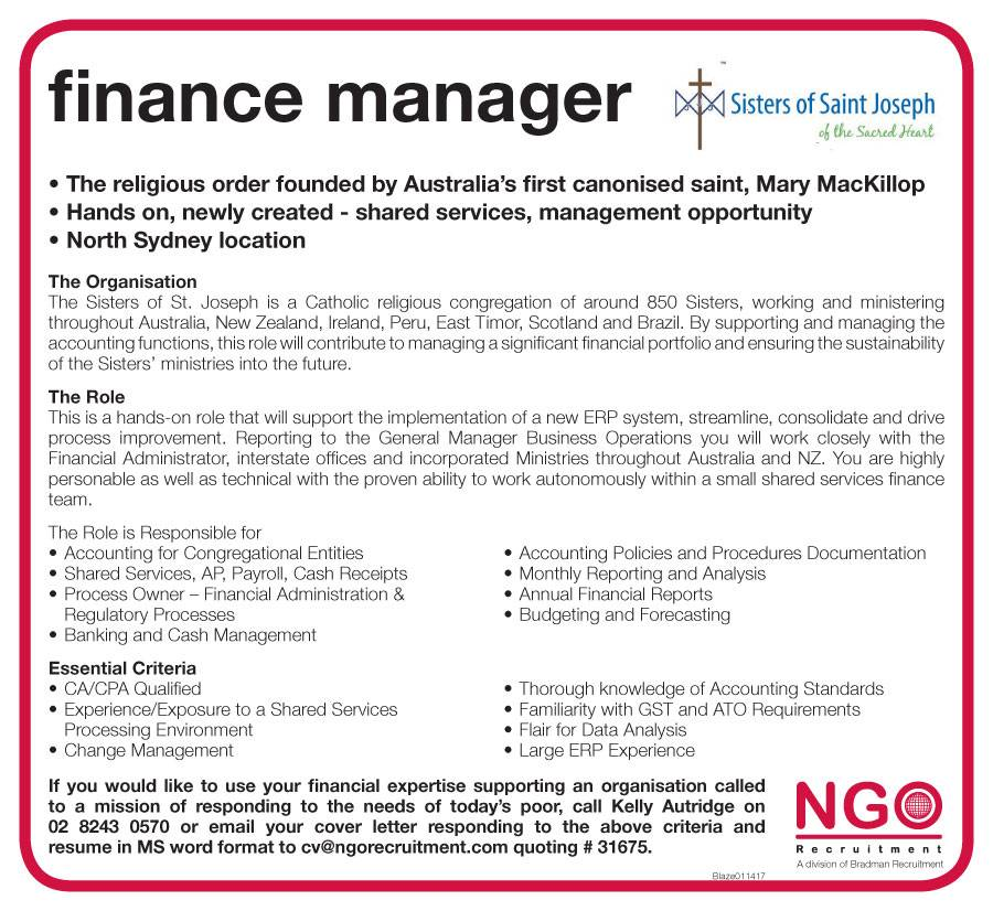 NGO Recruitment Finance Manager and Administration NGO Recruitment – Financial Manager Job Description