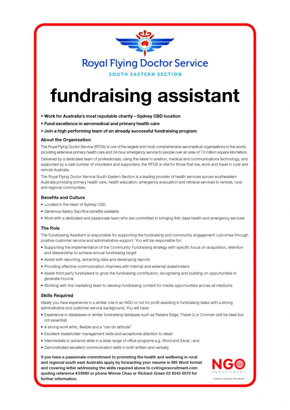 Fundraising Assistant   Royal Flying Doctor Service