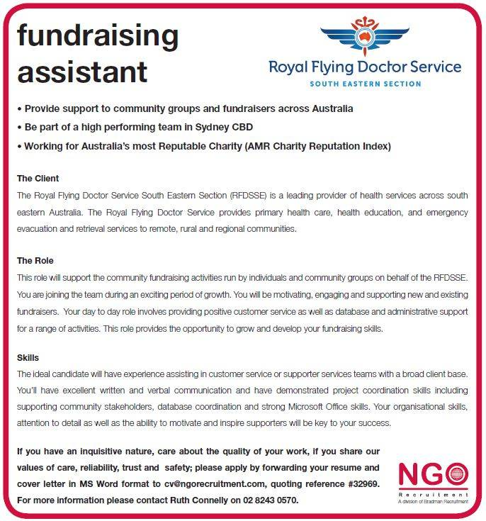 Fundraising Assistant, Royal Flying Doctor Service