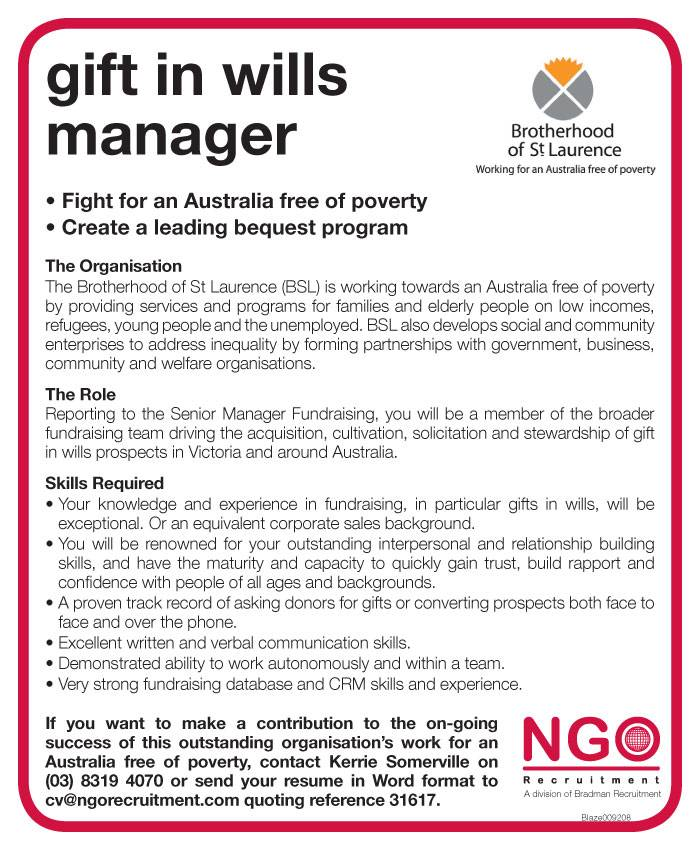 Ngo recruitment gift in wills manager ngo recruitment looking for a job negle Gallery