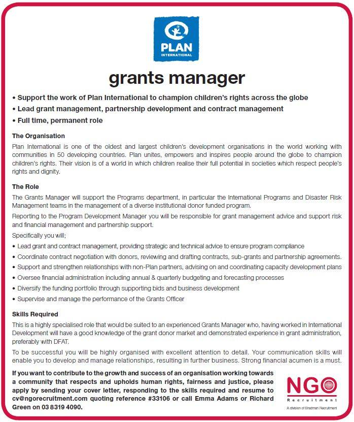 NGO Recruitment | Grants Manager, Plan International