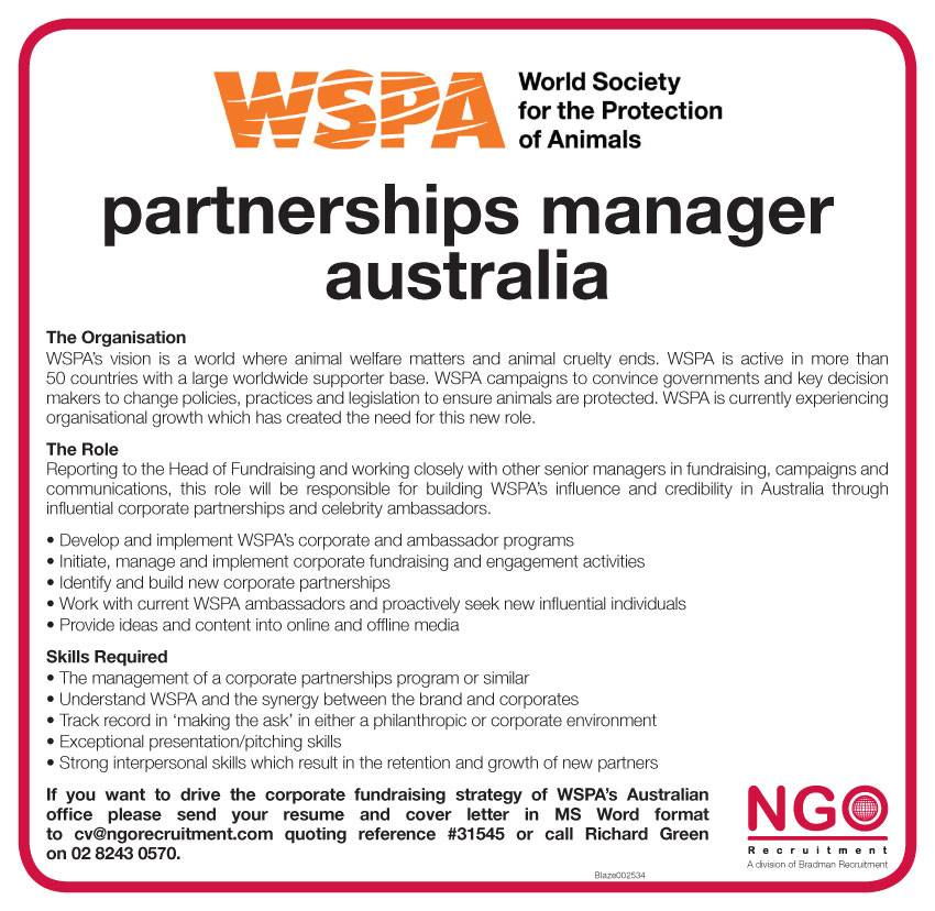 Ngo recruitment partnerships manager australia ngo recruitment philanthropy major gift and relationship fundraising negle Gallery