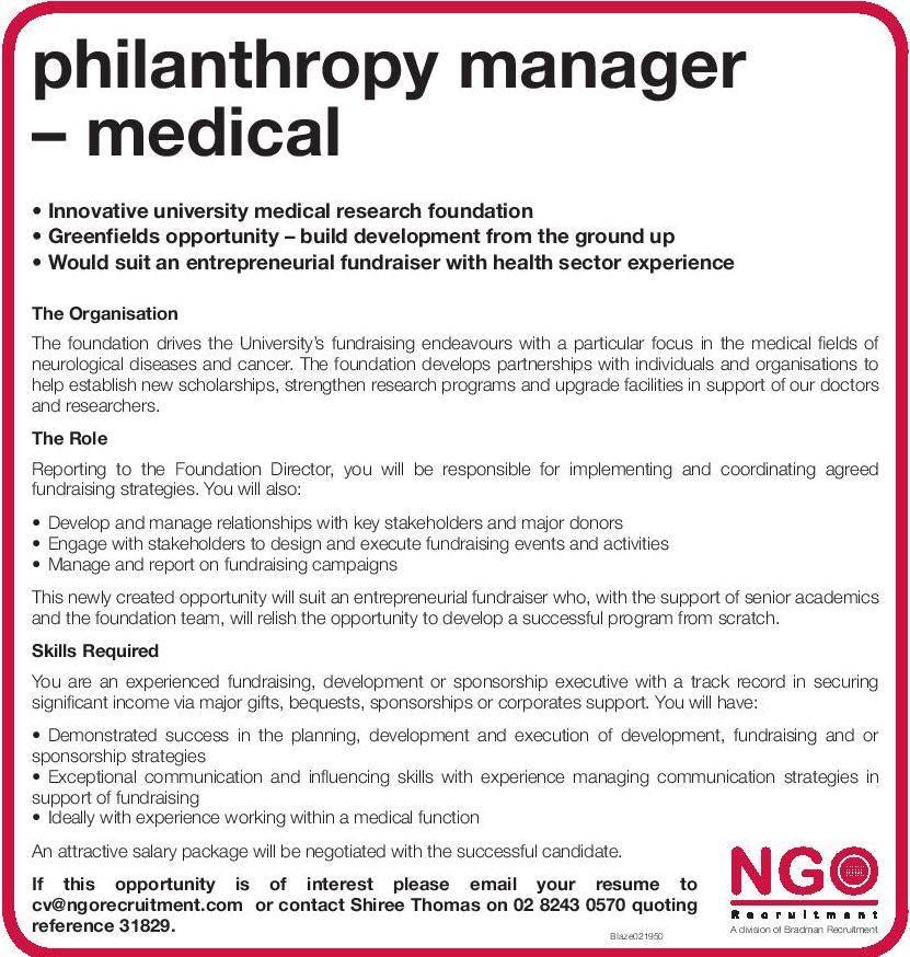 ngo recruitment philanthropy manager ngo