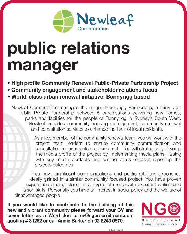 Public Relations Manager. PublicRelationsManager