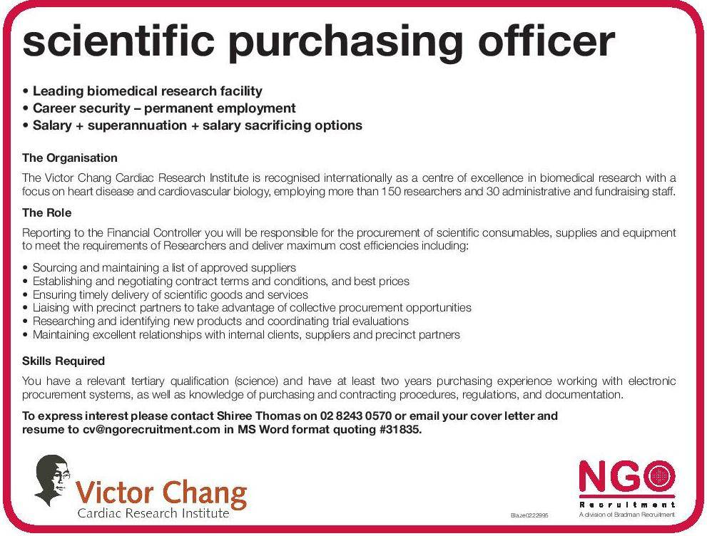 Ngo Recruitment Scientific Purchasing Officer  Ngo Recruitment