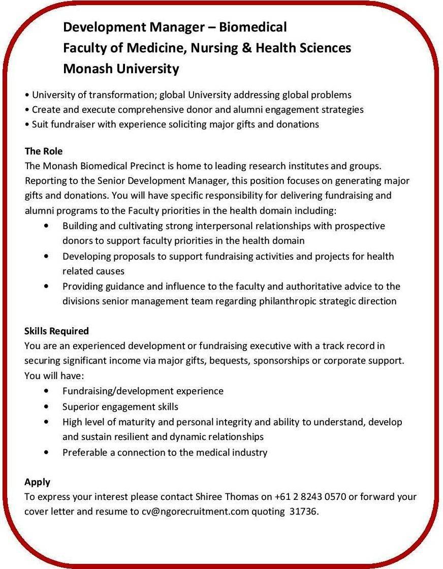 NGO Recruitment   Development Manager – Monash University