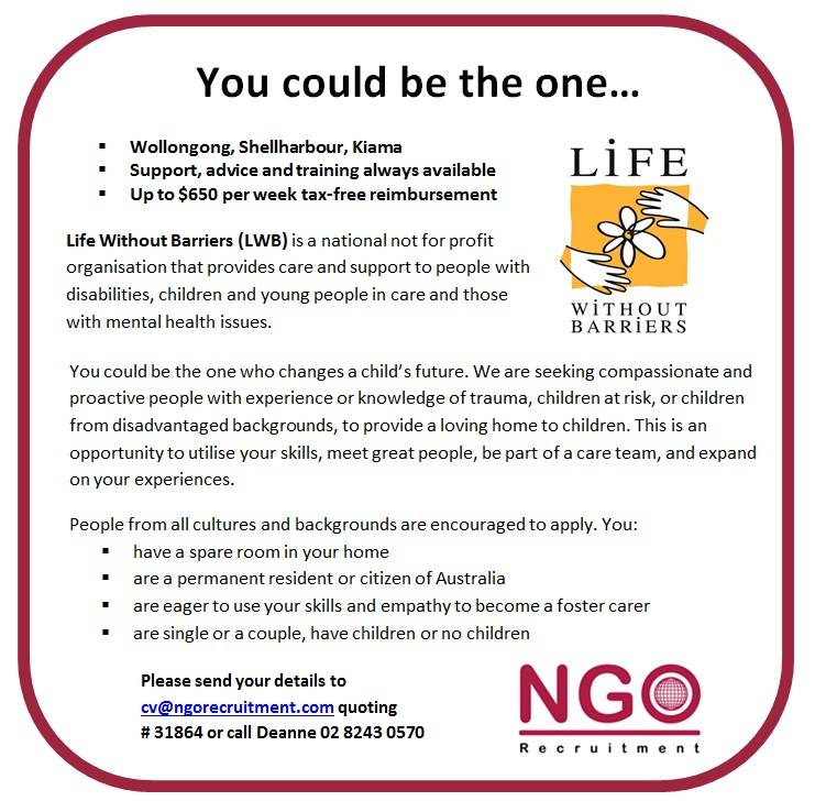 NGO Recruitment Foster Care Wollongong and South NSW - NGO Recruitment