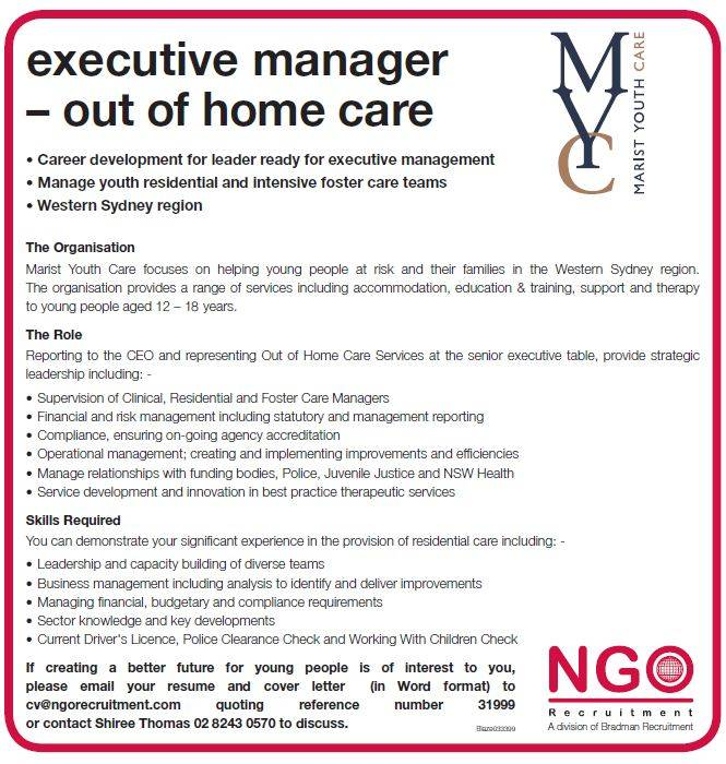 NGO Recruitment   Executive Manager – Out of Home Care