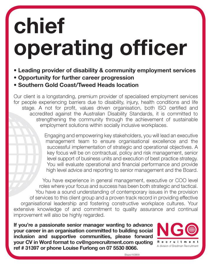 ngo recruitment chief executive and board director