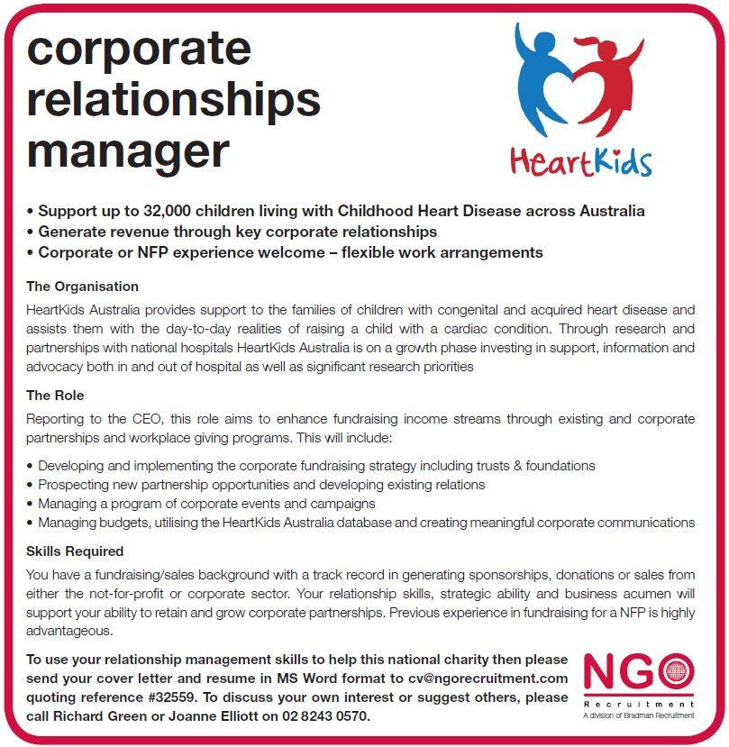 NGO Recruitment | Corporate Relationships Manager – HeartKids