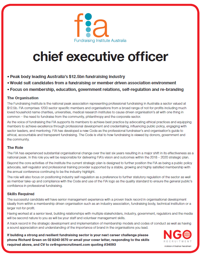 NGO Recruitment | Chief Executive and Board Director