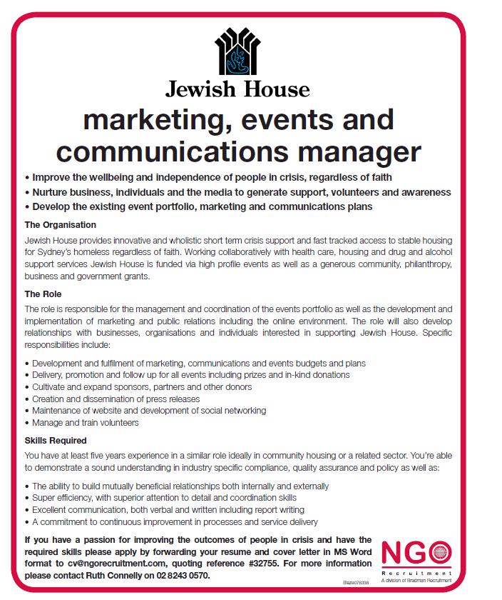NGO Recruitment   Communications and Media